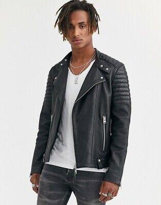 ALL SAINTS Black JASPER Biker Leather Jacket Size S SMALL kane den cargo conroy