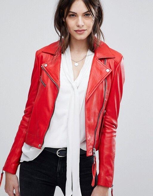 New Women Leather Jacket Red Slim Fit Biker Motorcycle lambs