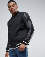 Asos Mens Leather Jacket in black color in medium size