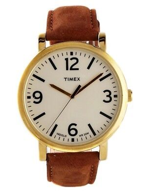 New Timex Men's Originals T2P527 Brown Leather Analog Quartz Fashion Watch