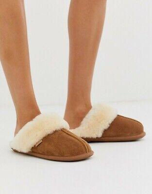 Just Sheepskin mule slippers (Tan)suede Ladies UK 3-4 (EU 36-37) (Women's)