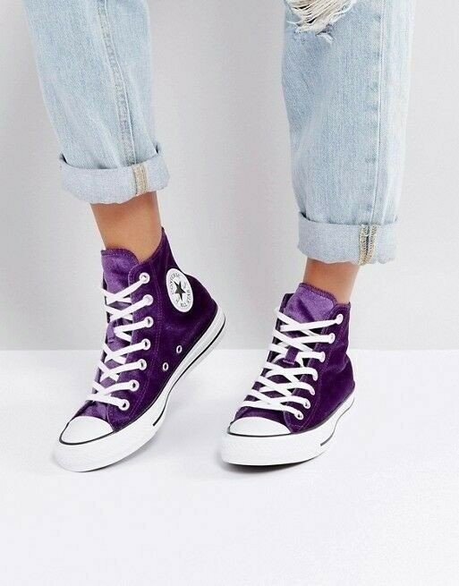 5801e001300 WORN ONCE Sold Out Converse Purple Velvet Ladies All Star Hi Trainers 5.  Womens 37.5 Chuck Taylor
