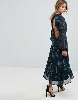 Hope Nd Ivy Dark Floral Open Back Dress Midi Black Green Size 8