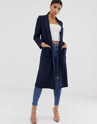 Helene Berman London Womens Longline Jersey Coat Jacket Black, Uk Size 18 (28)