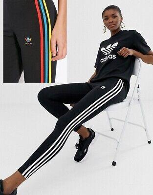adidas Originals adicolor 3 stripe legging in black Multicolour