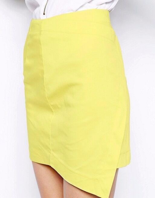 LADIES NEW SKIRT SIZE 14 UK AX Paris Wrap Front Skirt - Yellow / UK 14