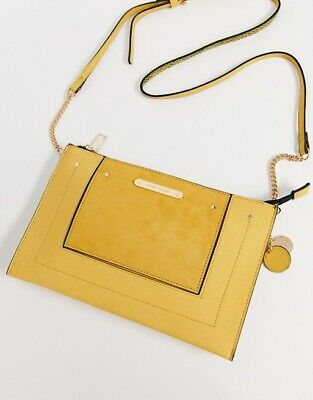 New River Island Cross Body Bag Handbag Faux Leather Yellow
