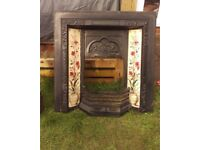 Victorian-style cast iron fireplace tiled hearth grate