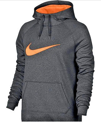 NEW WOMEN'S NIKE THERMA ALL TIME GRAPHIC HOODIE SWEATSHIRT IN GRAY/BLACK