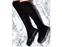 Knee High Suede Pull On Boots Size 4.5 Good Condition