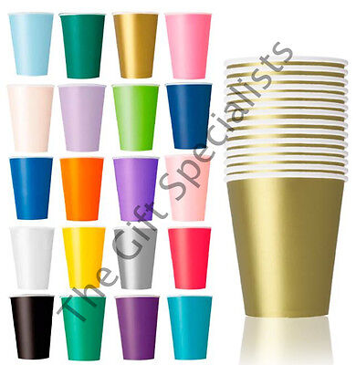 Paper Cup Cups - BIRTHDAY CHRISTMAS CUP TABLEWARE - PARTY PAPER CUPS - MANY SOLID COLOURS!