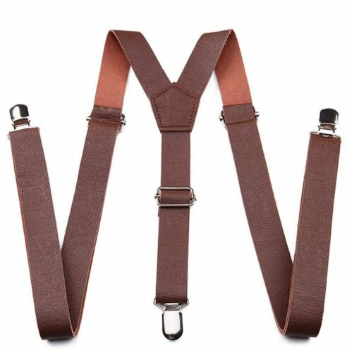 """New Punk Brown Pu Faux Leather Vintage Suspenders  1 """" Wide"""