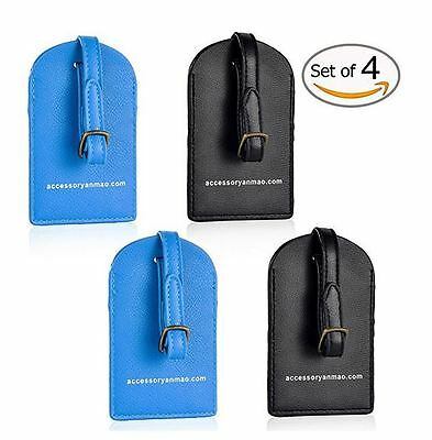 Leather Luggage Tags With Id Cards, Assorted Colors Black Blue, Travel Set Of 4