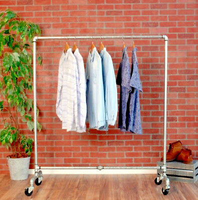 Industrial Pipe Rolling Clothing Rack - Silver Pipe - 48 Wide