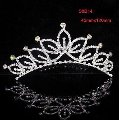Rhinestone Tiara Crown Princess Flower Girl Bridal Birthday Wedding Comb S8B14](Birthday Girl Crown)