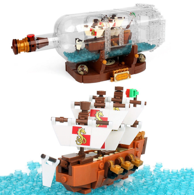 Ideas Ship In A Bottle Expert Lego Building Blocks 1080 Pcs Bricks Free Shipping