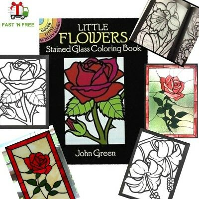 Adult Coloring Books for Women Men Kids Stained Glass Art Painting Anti Stress