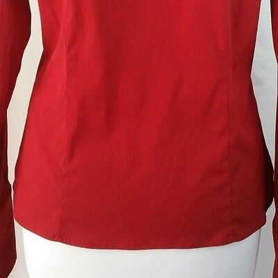 Optimum Pure & Simple Sz M Long Sleeve Dark Red Fitted Button Up Blouse Career