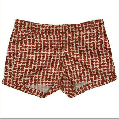 J Crew Women's Size 2 Apple Print Short Red White Pockets 100% Cotton Casual