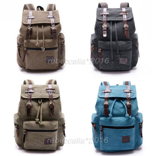 canvas leder rucksack schultasche sporttasche backpack reisetasche herren damen ebay. Black Bedroom Furniture Sets. Home Design Ideas