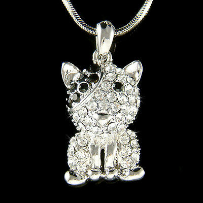 Bouledogue bull terrier chien avec cristal swarovski noir animal bijoux collier