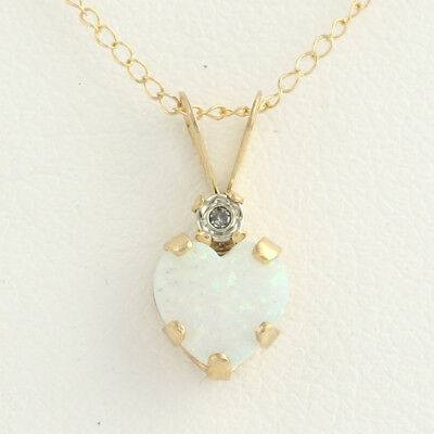 Diamond Small Heart Necklace - NEW Synthetic Opal & Small Diamond Heart Pendant W/ Necklace - 10k Yellow Gold