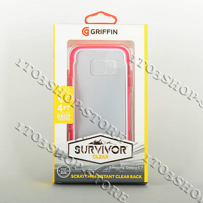 Griffin Survivor Hard Shell Snap Cover Case for Samsung Galaxy S7 Pink/Clear NEW