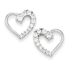 Sterling Silver Cubic Zirconia Heart Journey Stud Post Earrings