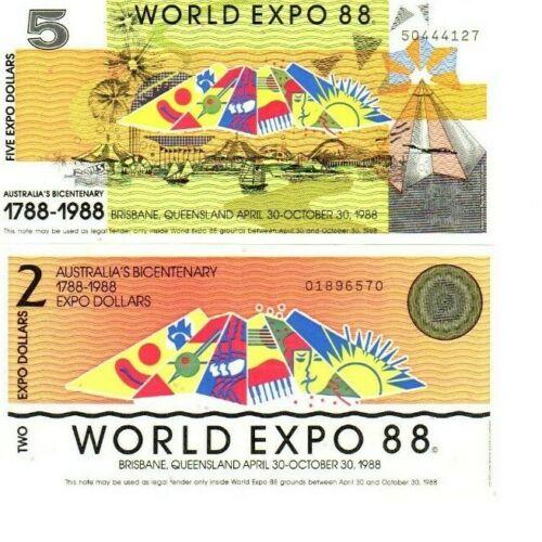SET EXPO 88 Brisbane $2 & $5 1988 dollars UNC