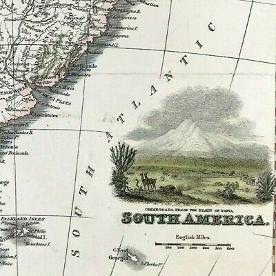 Antique Map of South America 1831 steel engraved, Fullerton & Co Glasgow