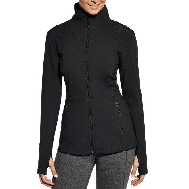 CALIA by CARRIE UNDERWOOD Caviar Black Core Fitness Workout Jacket Thumbholes XS