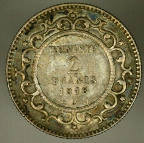 Tunisia Silver 2 Francs 1916-A Toned XF  A1540