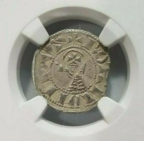 Antioch Bohemond IV NGC XF 45 Silver Denier Knights Templar Crusader Holy Cross