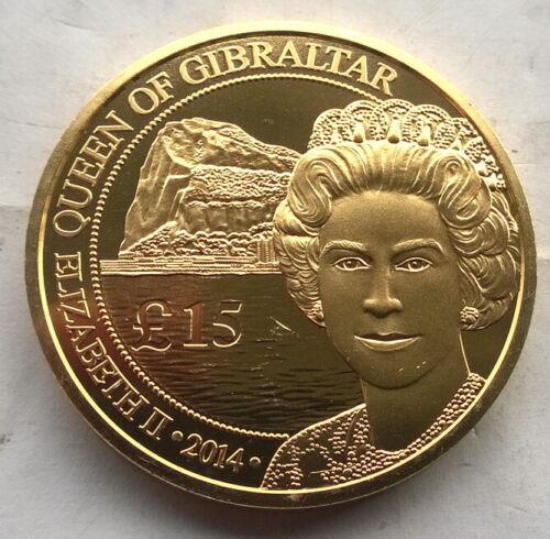 Gibraltar 2014 Queen 15 Pounds Gold Plated 1oz Silver Coin,BU
