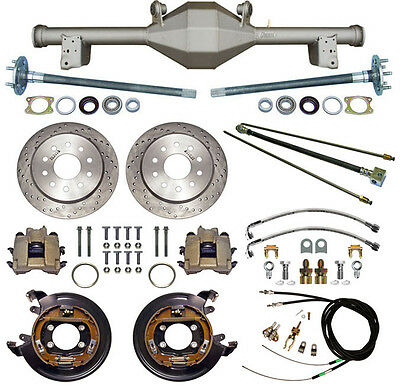 CURRIE 79-93 MUSTANG 5-LUG REAR END & DRILLED DISC BRAKES,LINES,PARKING B CABLES
