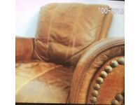 Brown Leather Couch & Arm chair