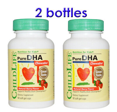 Pure DHA Chewable, Natural Berry Flavor for Kid, 90 Soft Gel Caps ChildLife,