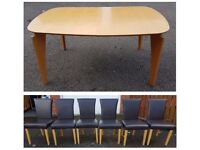 Modern Extending Table & 6 Brown Faux Leather Chairs Oak Legs FREE DELIVERY 692