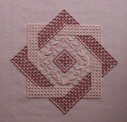 Large Pink Hardanger Embroidery Completed Finished Unframed