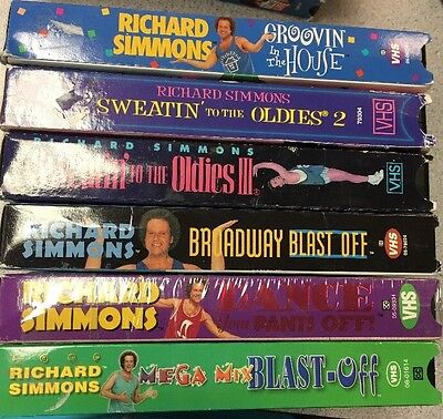 Richard Simmons VHS Tape Lot of 6 Sweatin To The Oldies ~ Exercise, Fitness