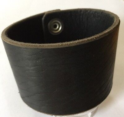 "Black Wrap Cuff - 2"" Wide - Handmade Latigo Leather Wristband Handmade In USA !"