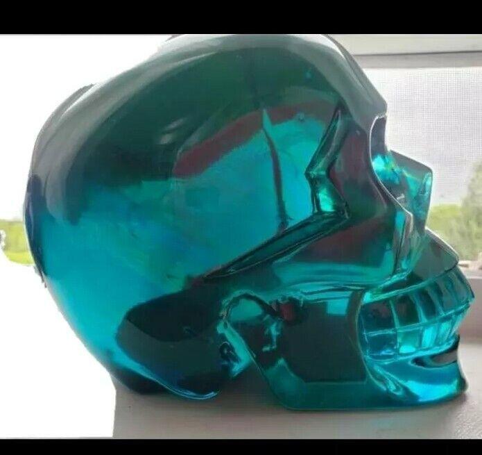 Blue Green Obsidian Skull 7.64 Pounds!