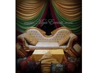 Mendi Stage Hire Mendhi Decoration Asian Catering Engagement stage rental £299 royal chair rental