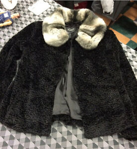 Regal jacket with faux chinchilla collar. Size medium.