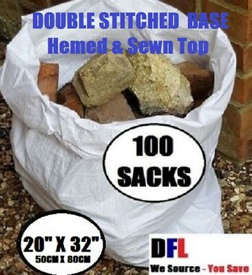 100 x ** ULTRA TOUGH ** Woven Polypropylene Builder Rubble Sacks Bags. 50 X 80CM