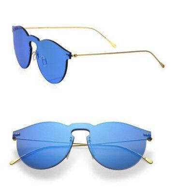 NEW - ILLESTEVA 'LEONARD II' Royal Blue/Gold SHIELD MIRRORED SUNGLASSES