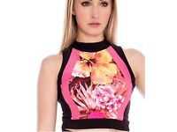 Gorgeous pink and black floral crop top