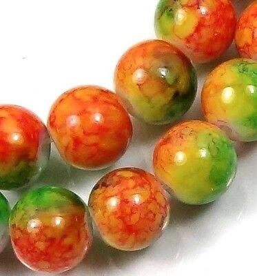 "8mm Baking Varnish Glass Round Beads - Orange Green 16"""