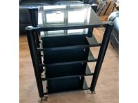 Soundstyle 5 Tier Black HiFi Stand Rack Shelving With Black Glass Shelves