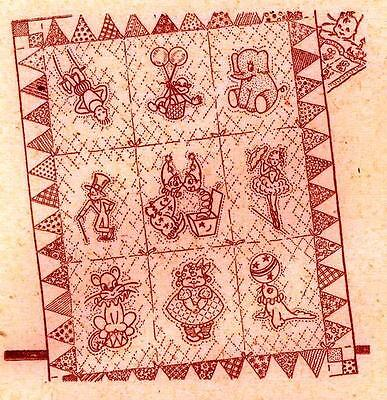 Vintage Embroidery Transfer repo 644 Circus Quilt PATTERN Clown Lion Seal Monkey